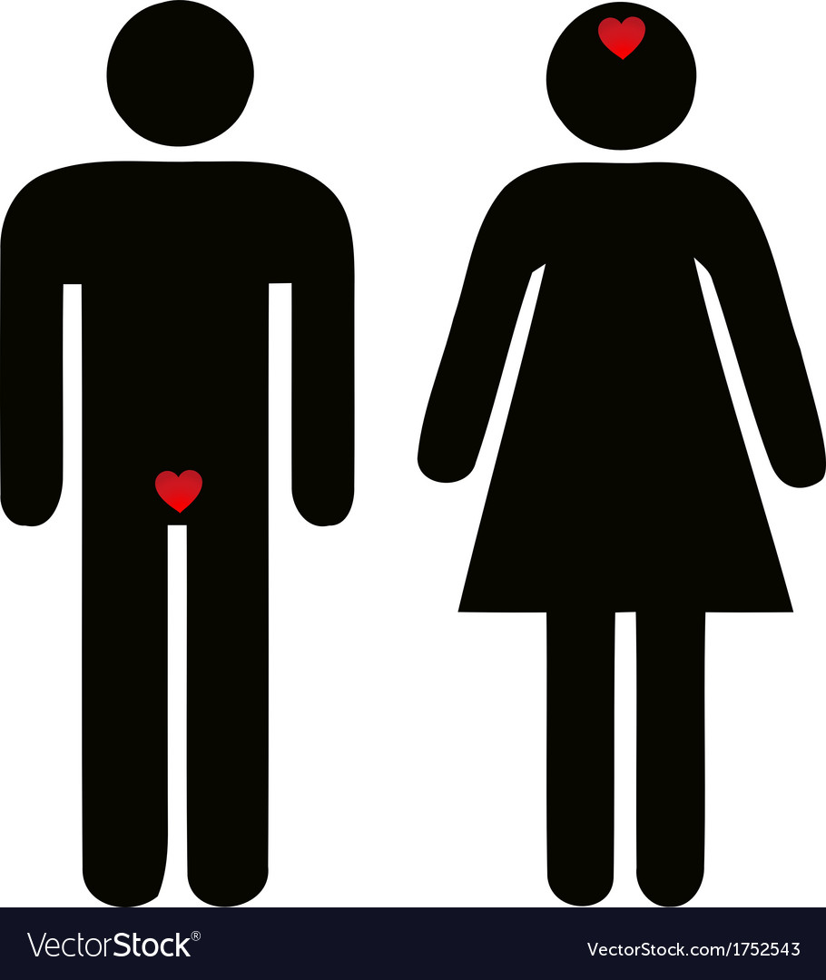Difference of man and woman concerning love vector | Price: 1 Credit (USD $1)