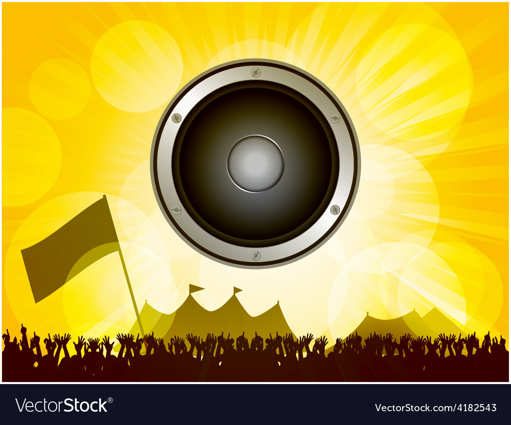 Festival and crowd with speaker vector | Price: 1 Credit (USD $1)