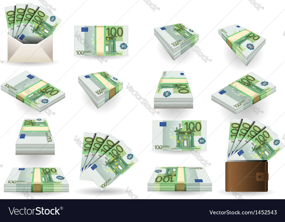 Full set of hundred euros banknotes vector | Price: 1 Credit (USD $1)