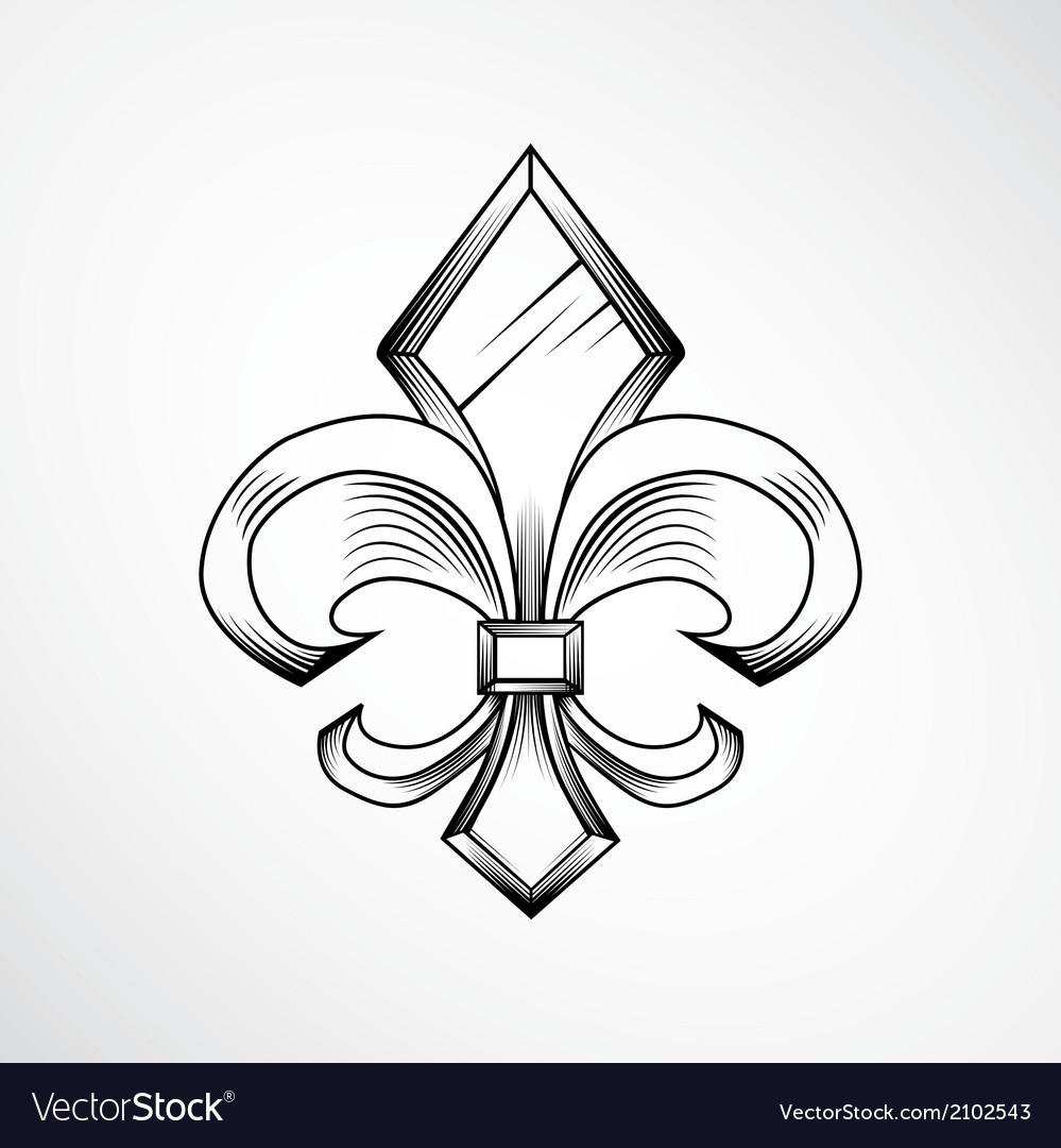 Heraldic lily label vector | Price: 1 Credit (USD $1)