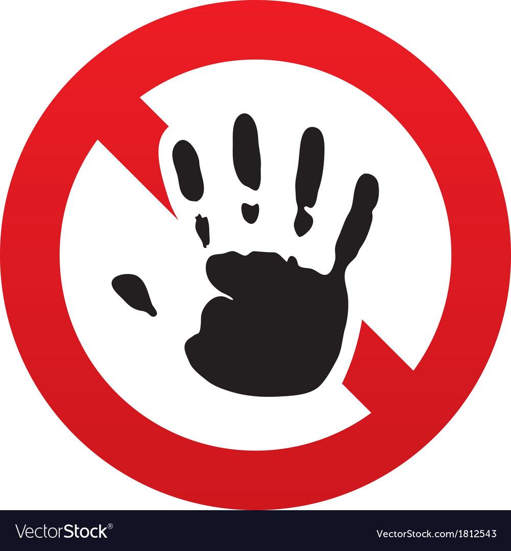 No hand print sign icon stop symbol vector | Price: 1 Credit (USD $1)
