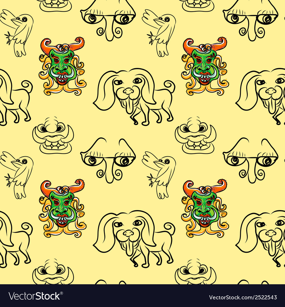Seemless pattern of doodle cartoon vector | Price: 1 Credit (USD $1)