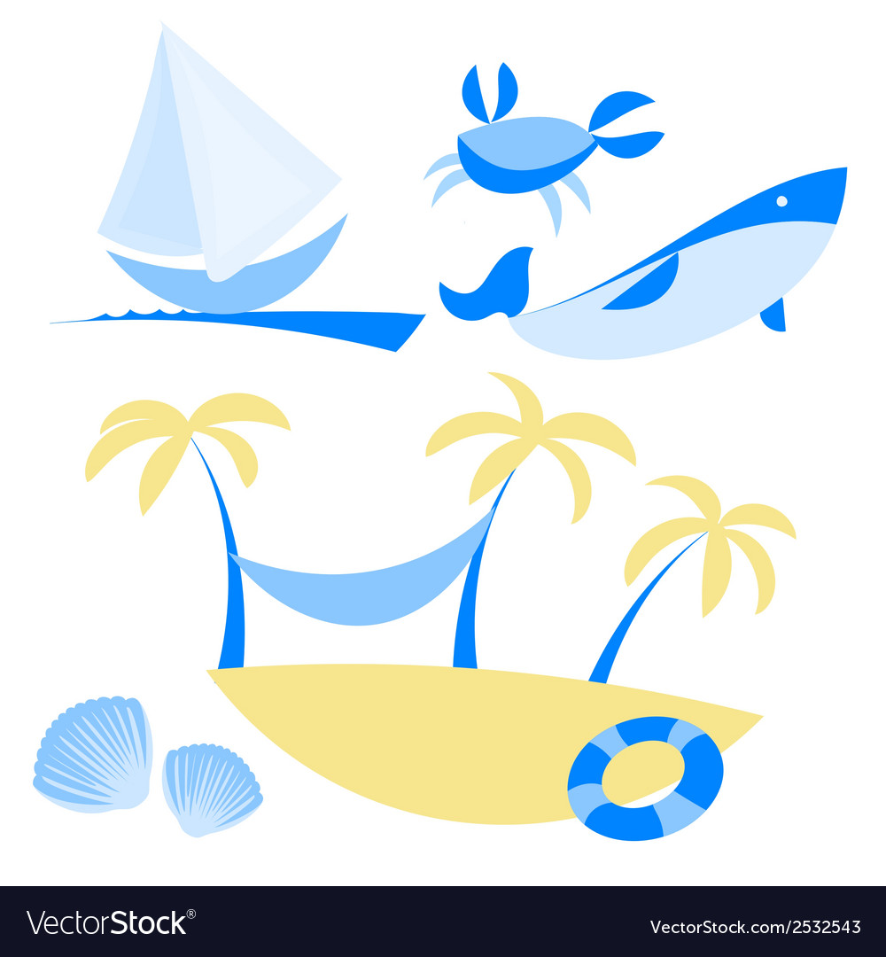 Set of icons with vocation and sea themes vector | Price: 1 Credit (USD $1)