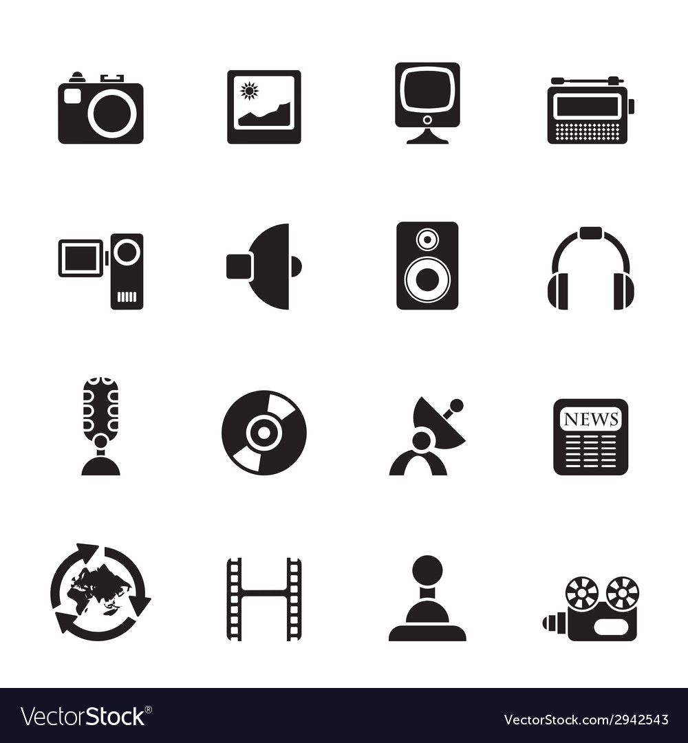 Silhouette media and household equipment icons vector | Price: 1 Credit (USD $1)