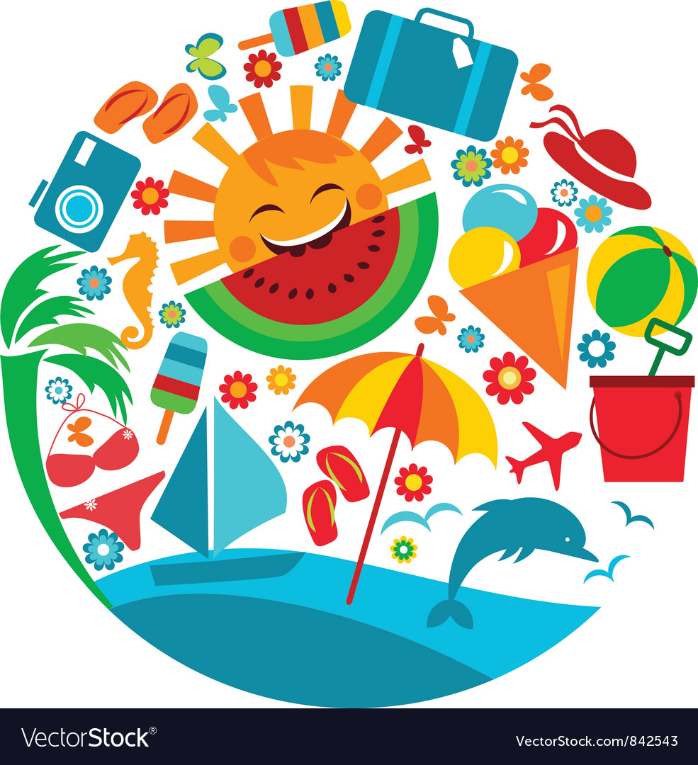 Sun with template of summer icons vector | Price: 3 Credit (USD $3)