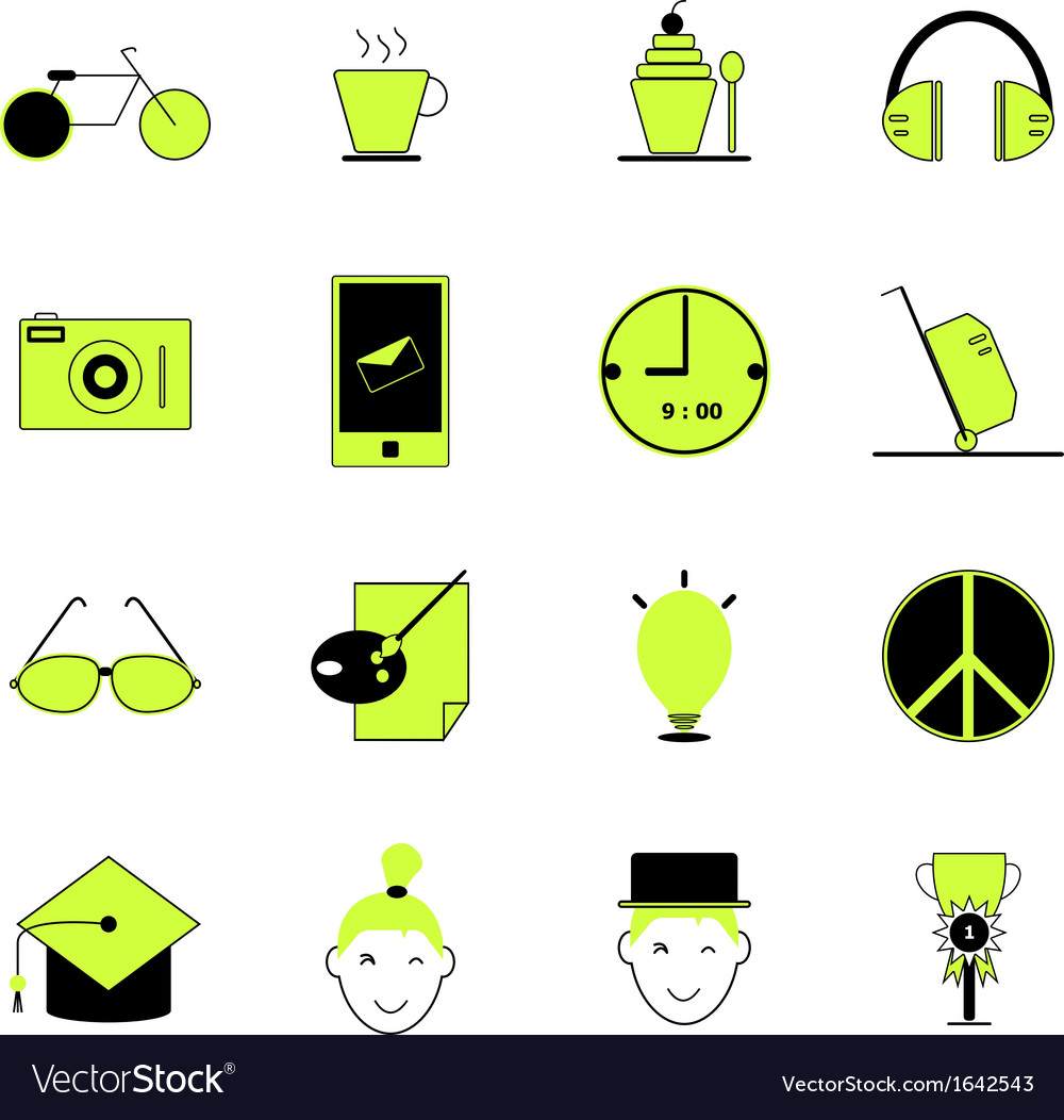 Teenage icons of green and black color vector | Price: 1 Credit (USD $1)