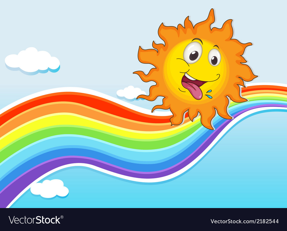 A sky with a rainbow and a happy sun vector | Price: 1 Credit (USD $1)