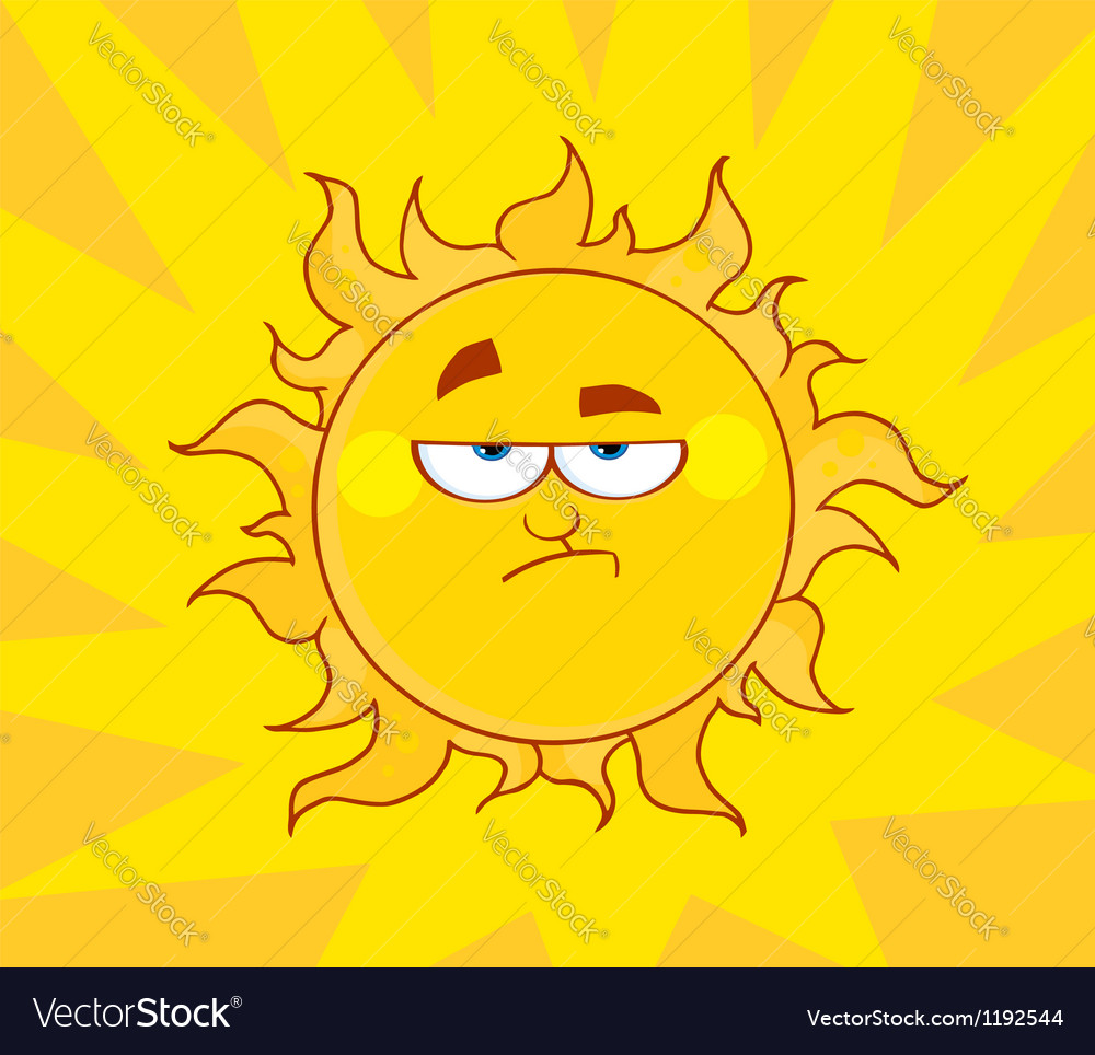 Angry sun vector | Price: 1 Credit (USD $1)