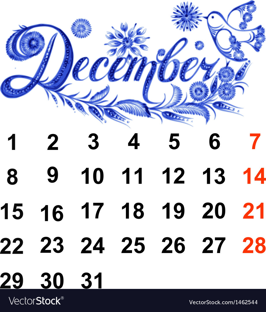 Calendar december 2014 vector | Price: 1 Credit (USD $1)