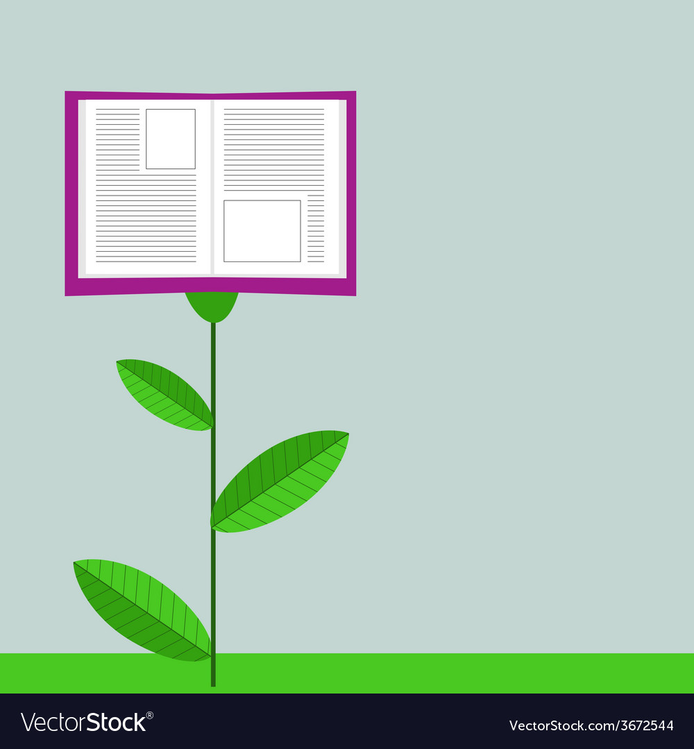 Concept of growing education book like flower vector | Price: 1 Credit (USD $1)