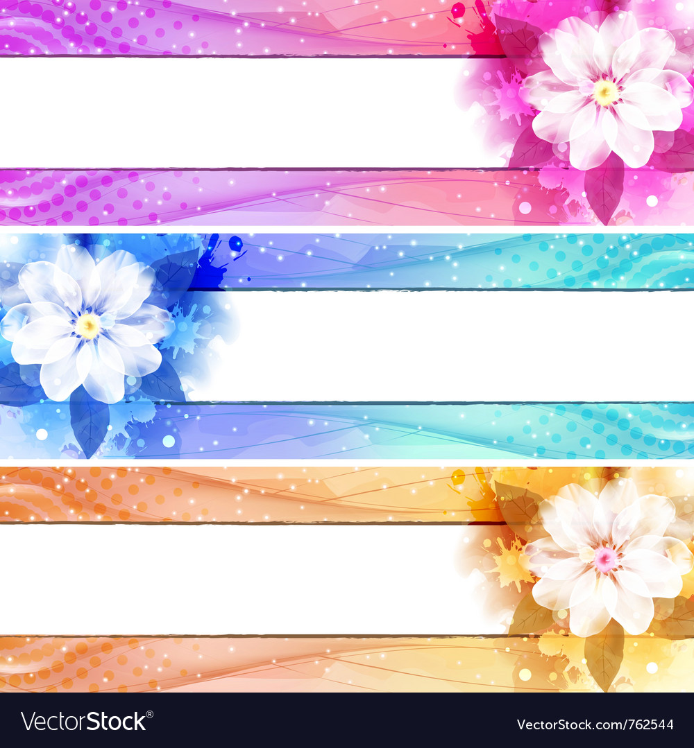 Flower banner set vector | Price: 1 Credit (USD $1)