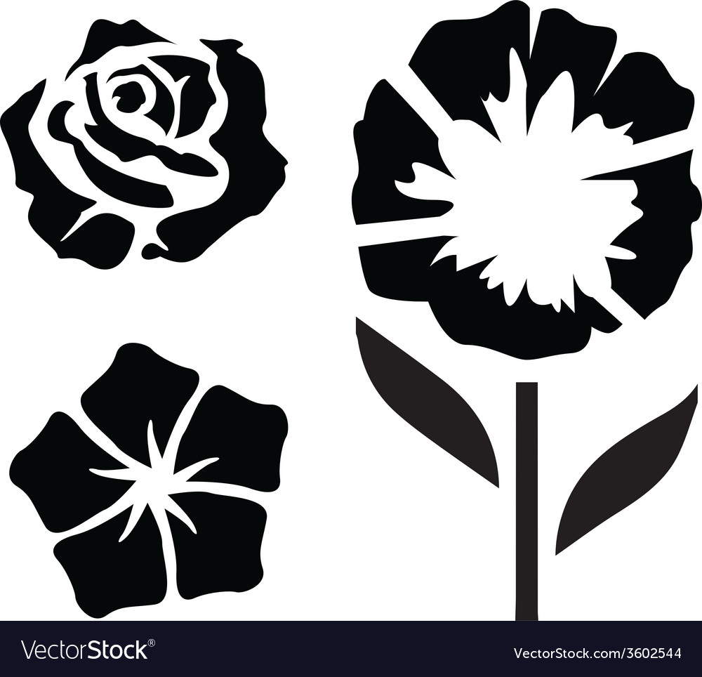 Flower silhouettes - 2 vector   Price: 1 Credit (USD $1)