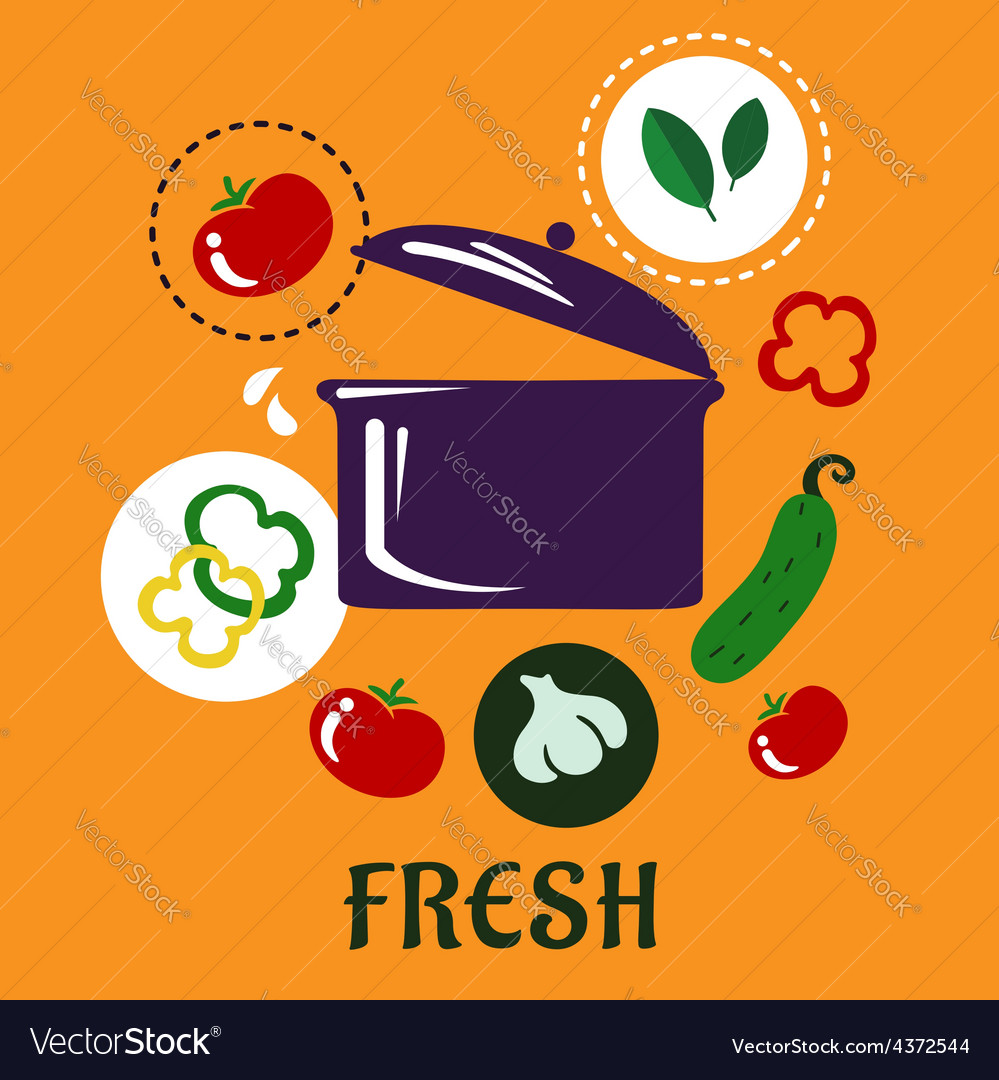 Fresh food concept depicting pan with vegetables vector | Price: 1 Credit (USD $1)