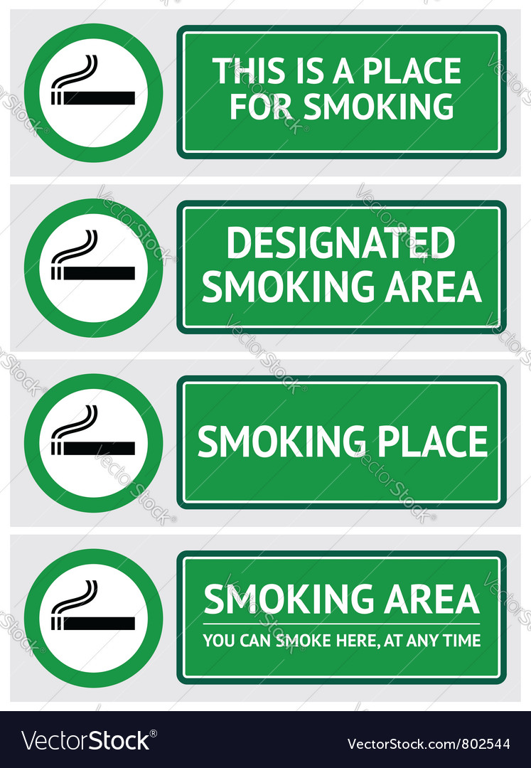 Labels set smoking place stickers vector | Price: 1 Credit (USD $1)