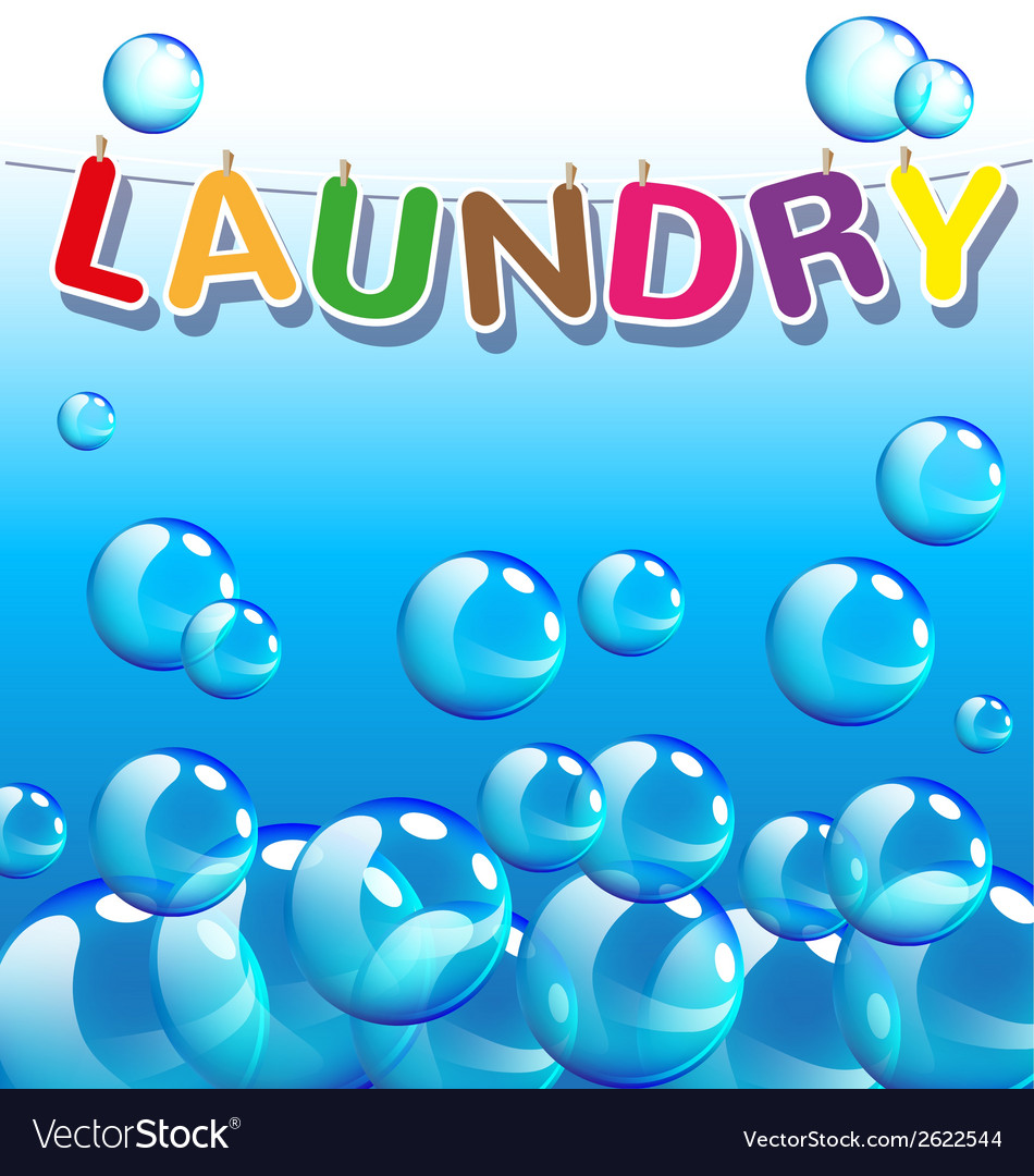 Laundry text and background of bubbles vector | Price: 1 Credit (USD $1)