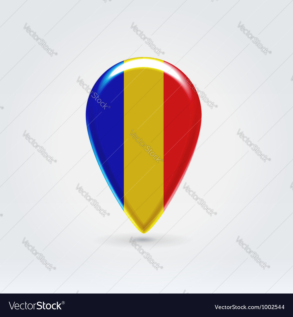 Romanian icon point for map vector | Price:  Credit (USD $)