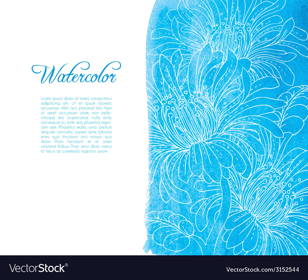 Template card with watercolor and floral vector | Price: 1 Credit (USD $1)