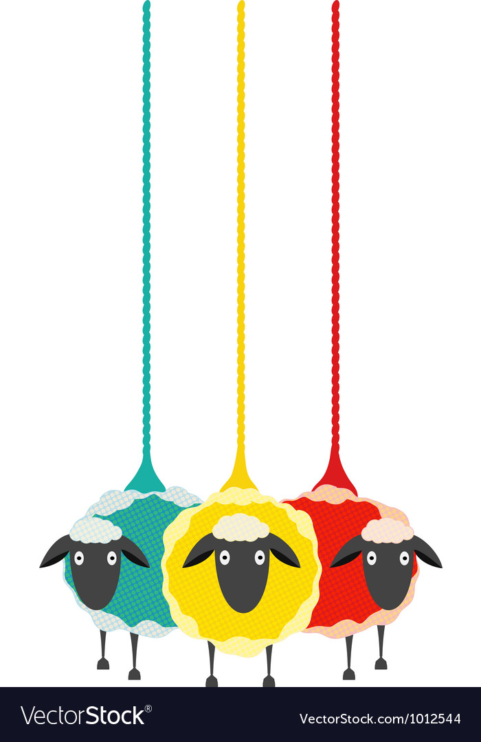 Three yarn sheep vector | Price: 1 Credit (USD $1)