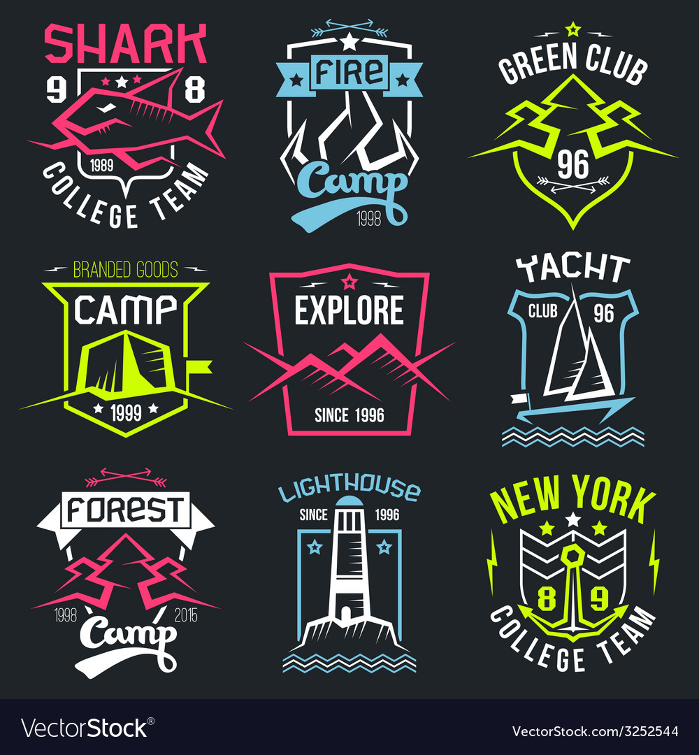 Vintage camping and sporting badges vector | Price: 1 Credit (USD $1)