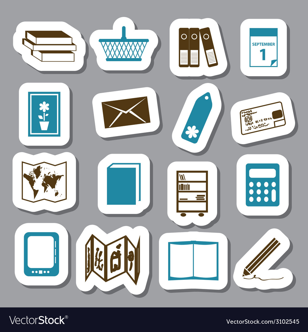 Bookshop stickers vector | Price: 1 Credit (USD $1)