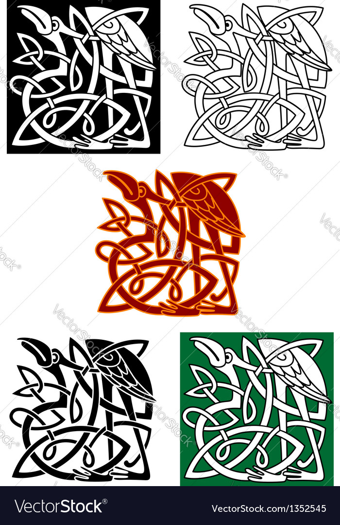 Celtic totems with birds vector | Price: 1 Credit (USD $1)