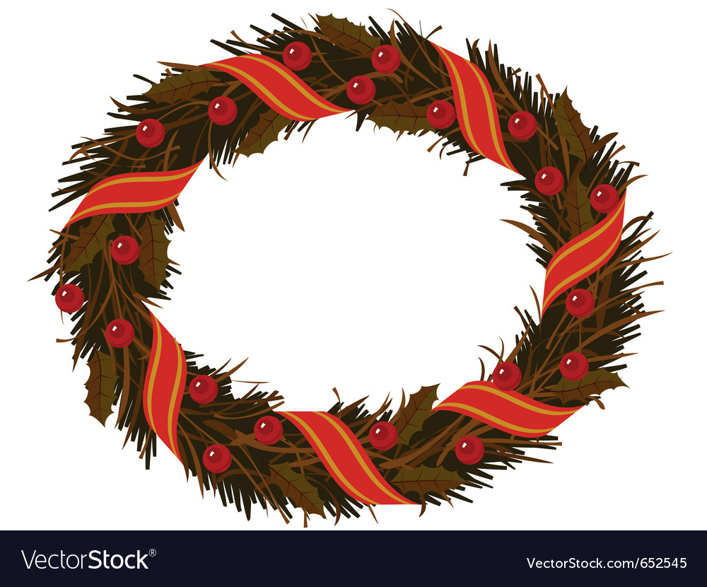 Christmas dry holly wreath vector | Price: 1 Credit (USD $1)