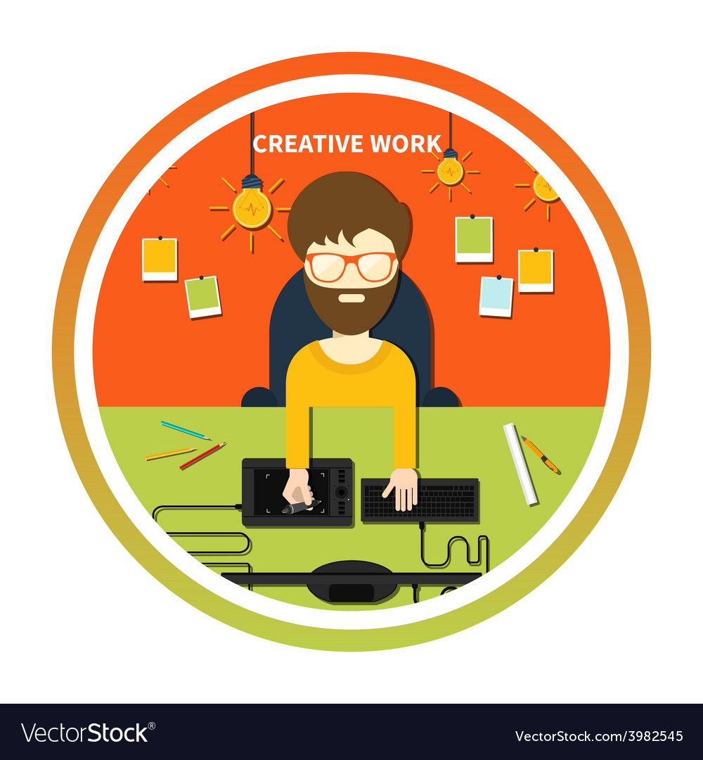 Creative work and designer tools concept vector   Price: 1 Credit (USD $1)