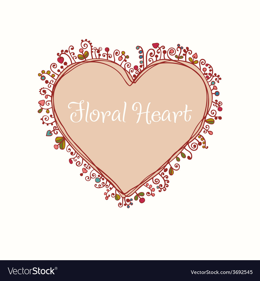 Hand drawn doodle heart text frame vector | Price: 1 Credit (USD $1)