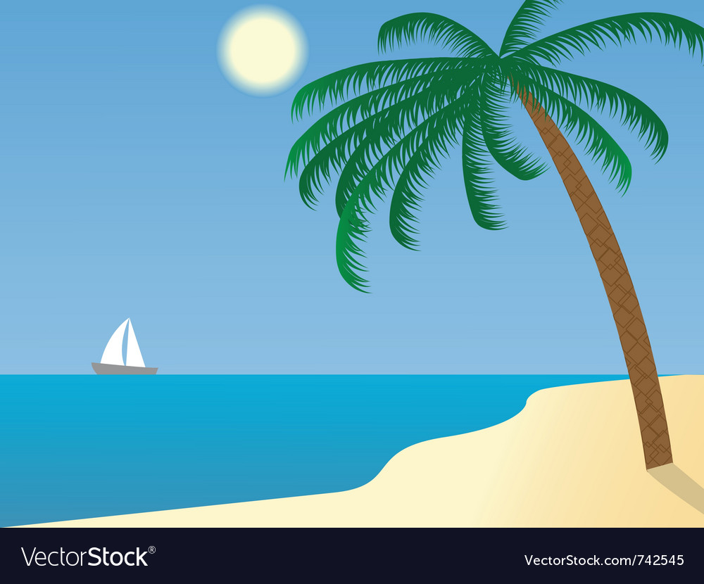 Sailboat in the distance vector | Price: 1 Credit (USD $1)