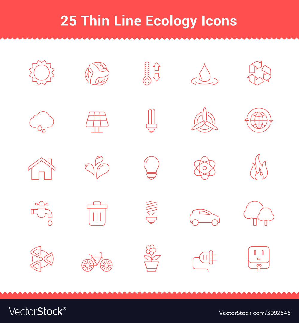 Set of thin line stroke ecology icons vector | Price: 1 Credit (USD $1)