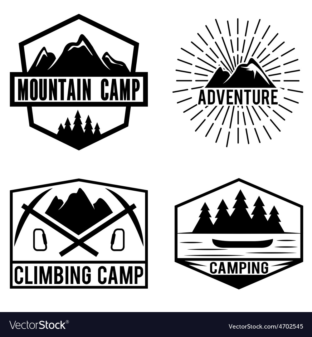 Set of vintage labels mountain adventure and vector | Price: 1 Credit (USD $1)