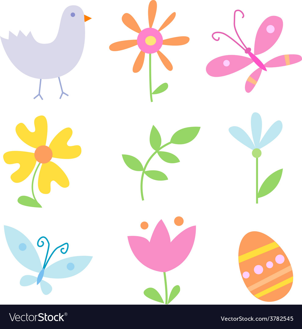 Spring holiday objects vector   Price: 1 Credit (USD $1)
