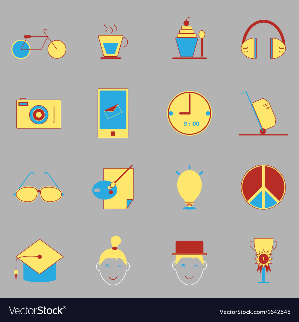 Teenage color icons on gray background vector | Price: 1 Credit (USD $1)