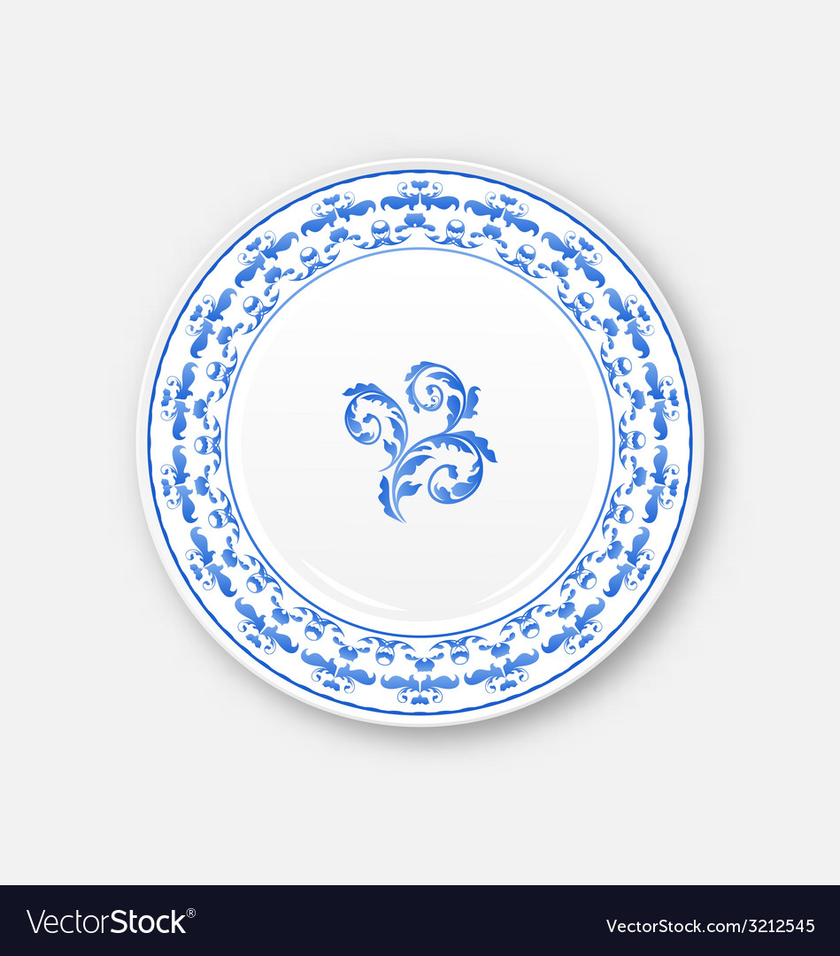 White plate with russian national ornament in vector | Price: 1 Credit (USD $1)