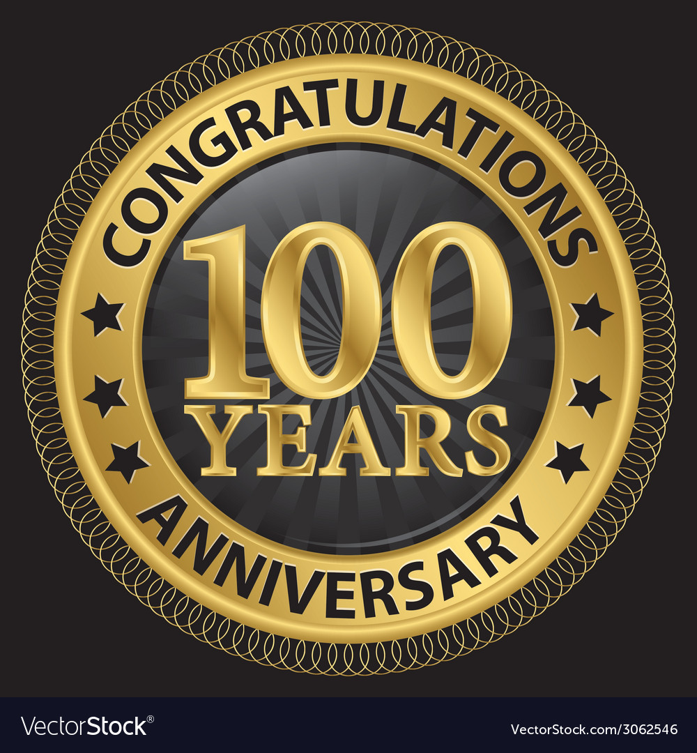 100 years anniversary congratulations gold label vector | Price: 1 Credit (USD $1)