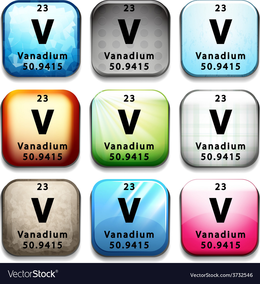 A button showing the element vanadium vector | Price: 1 Credit (USD $1)