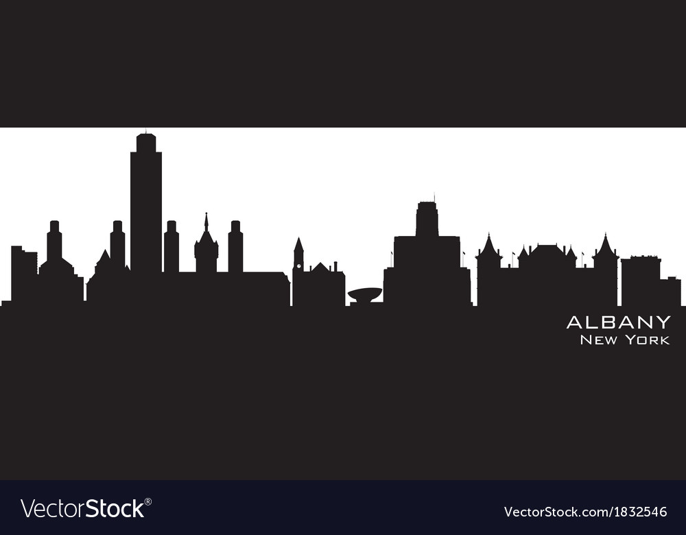 Albany new york skyline detailed silhouette vector | Price: 1 Credit (USD $1)