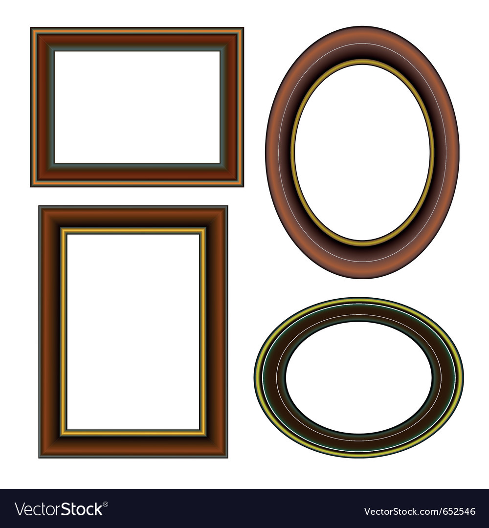 Classical wooden frame with golden strip set vector | Price: 1 Credit (USD $1)