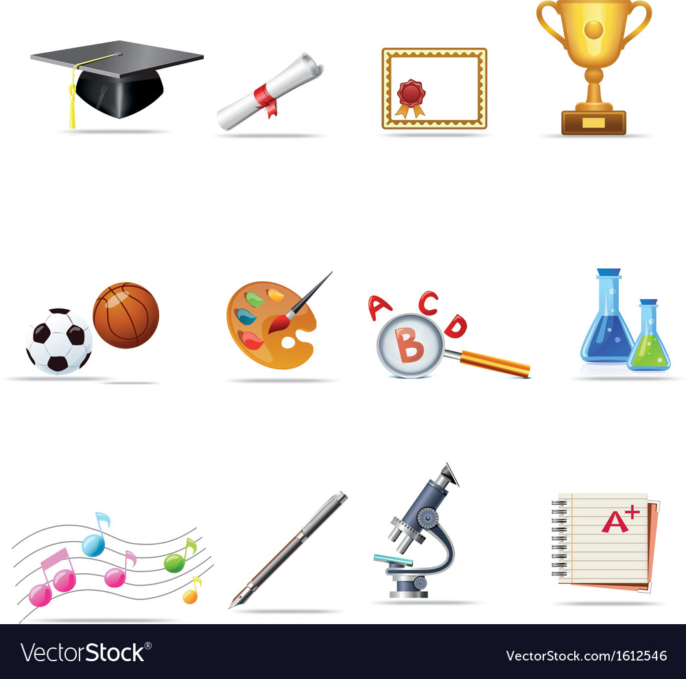 Education icon set vector | Price: 1 Credit (USD $1)