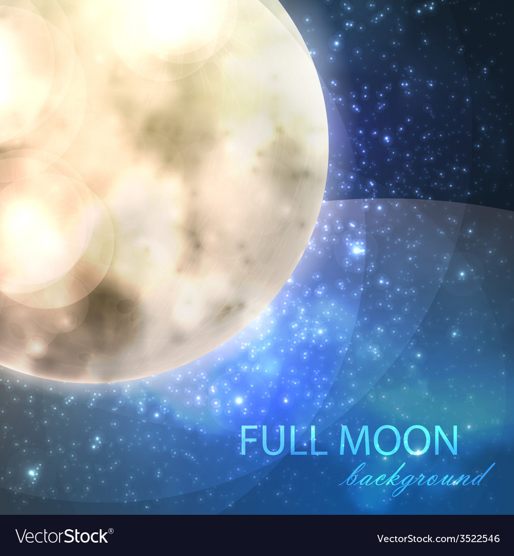 Full moon on the night starry sky background vector | Price: 1 Credit (USD $1)