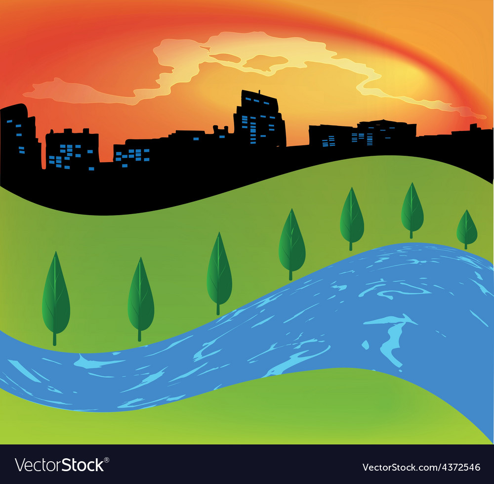 Green landscape with trees river vector | Price: 1 Credit (USD $1)
