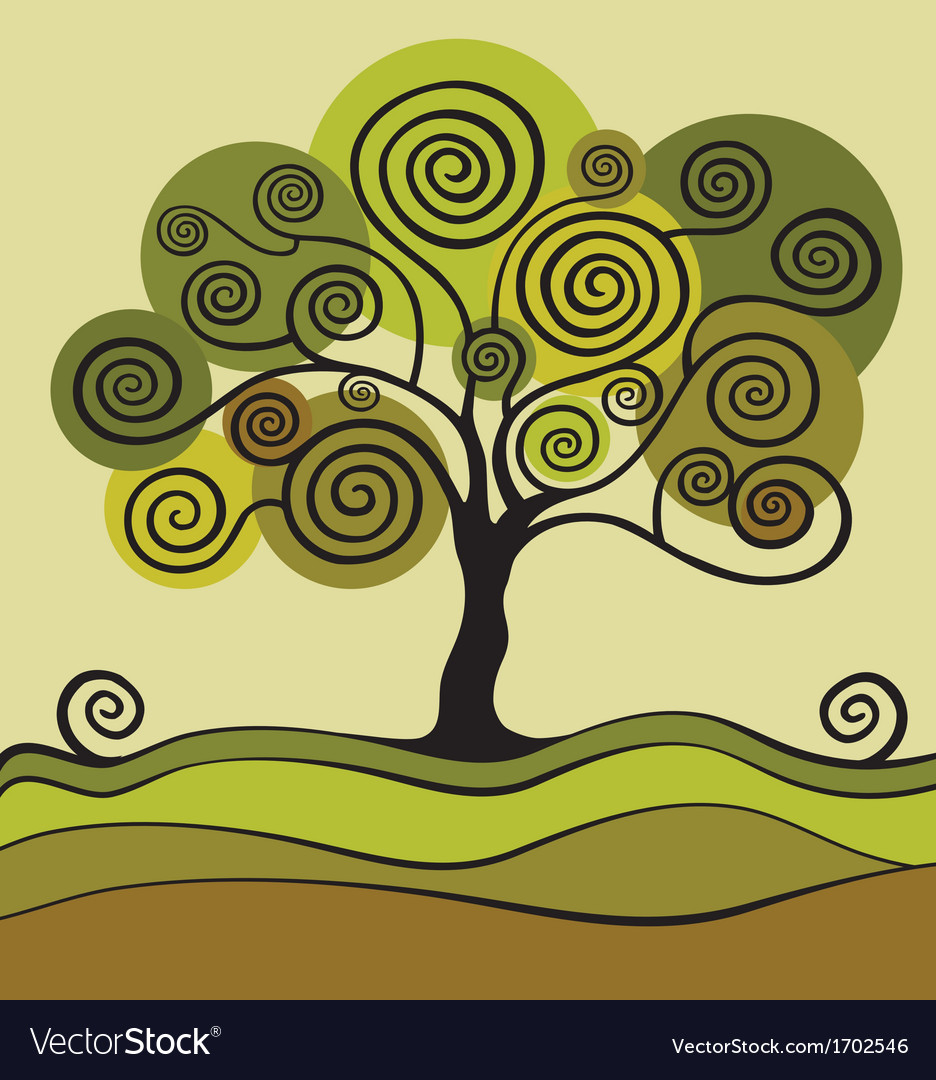 Green tree with curls vector | Price: 1 Credit (USD $1)