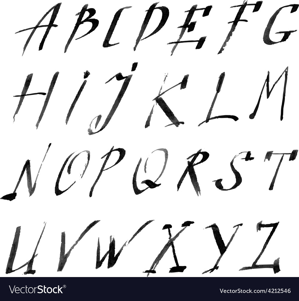 Hand drawn letters rustic style alphabet vector | Price: 1 Credit (USD $1)