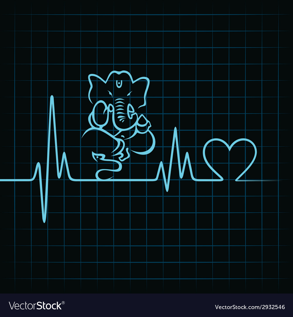Heartbeat make a lord ganesha and heart symbol vector | Price: 1 Credit (USD $1)