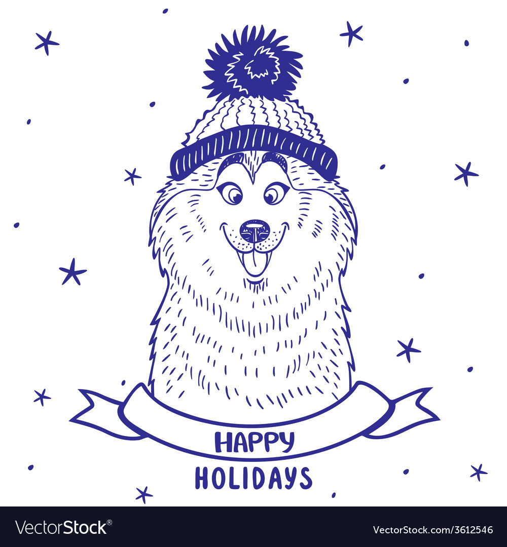 Husky holiday vector | Price: 1 Credit (USD $1)