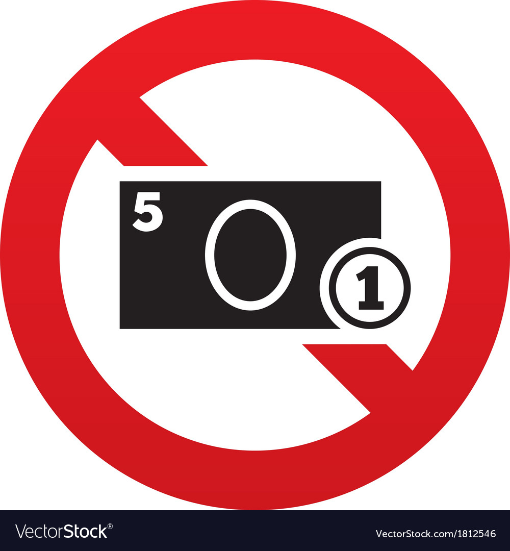 No cash sign icon coin and paper money symbol vector | Price: 1 Credit (USD $1)