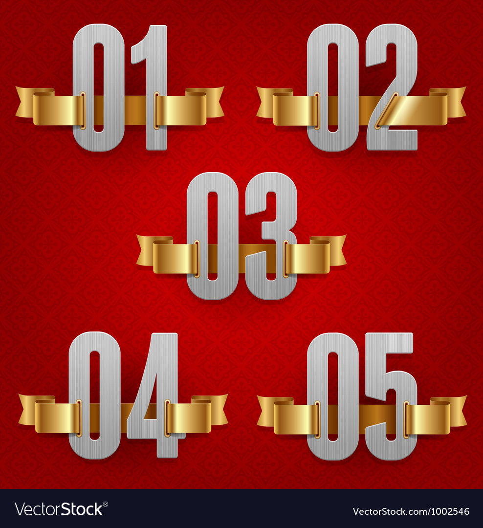 Numbers with golden ribbons vector | Price: 1 Credit (USD $1)