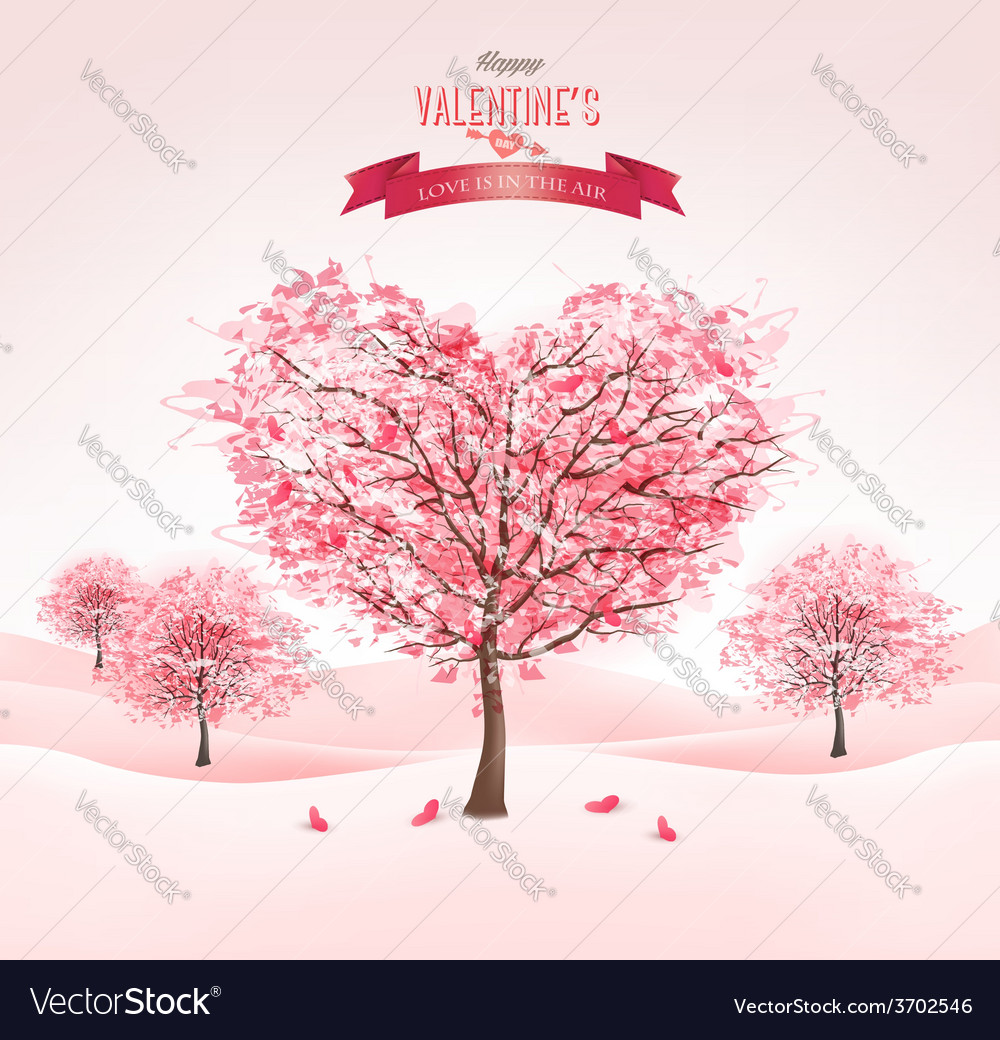 Pink heart-shaped sakura trees valentines day vector | Price: 3 Credit (USD $3)