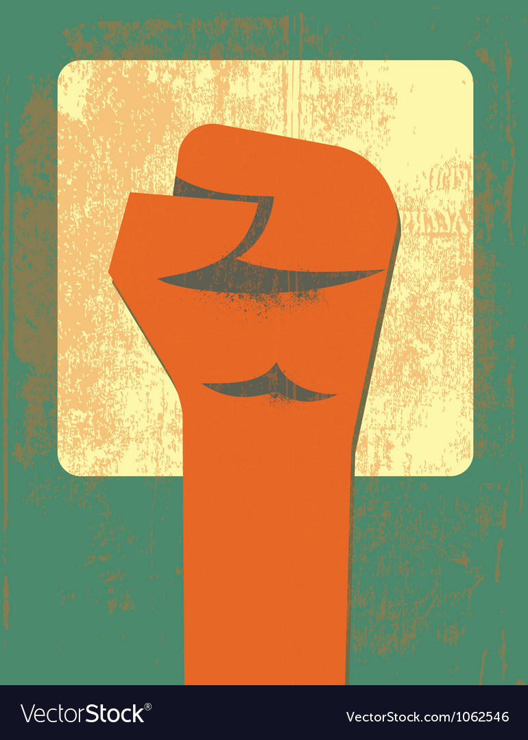 Red clenched fist retro poster vector | Price: 1 Credit (USD $1)