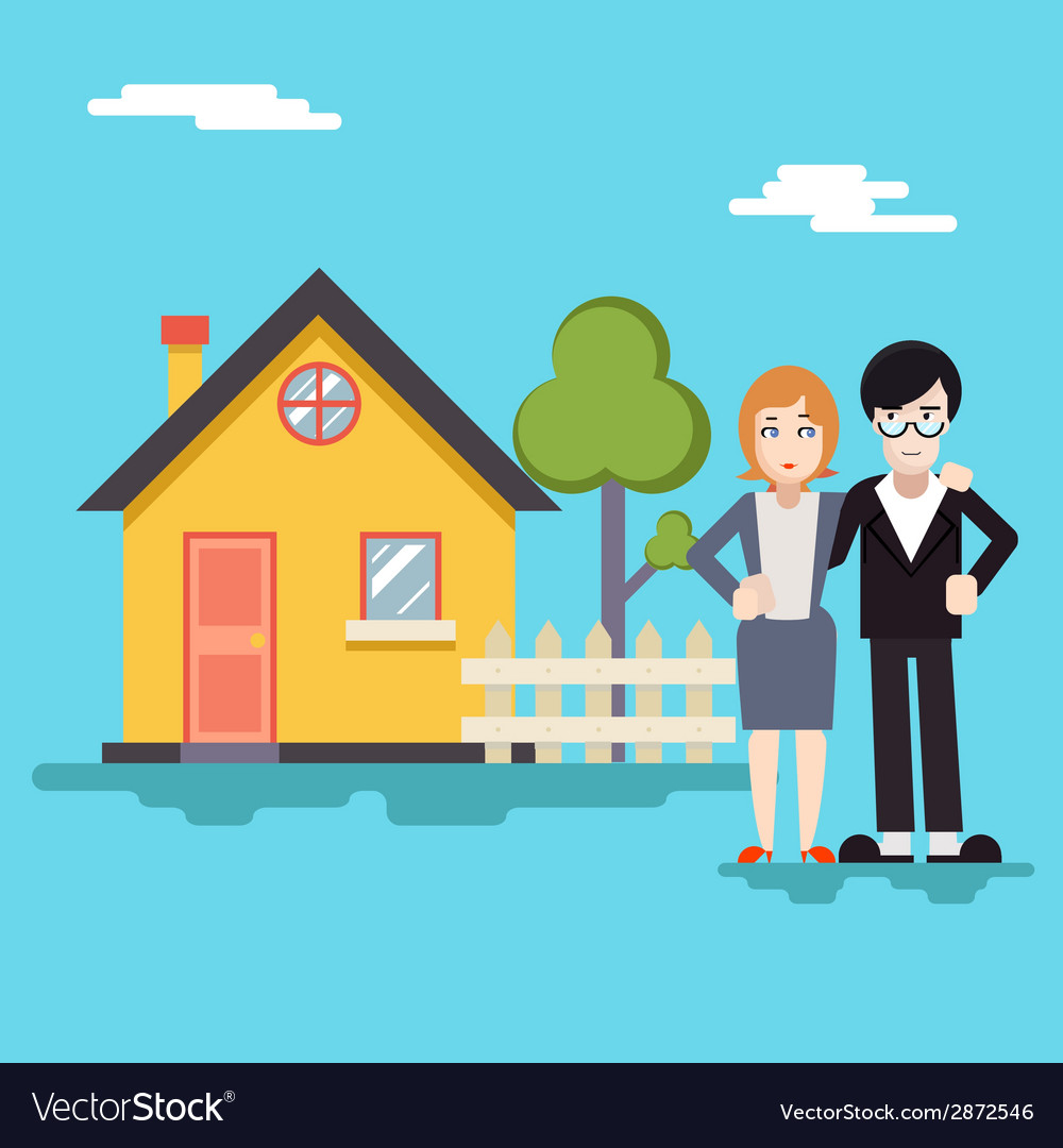 Retro happy family with house real estate modern vector | Price: 1 Credit (USD $1)